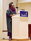 Claudia Rankine speaks in the Chapel.