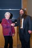 Patsy Couper W '44 welcomes Bryan Alexander to the Couper Lecture. Photo by Matt Poterba '12.