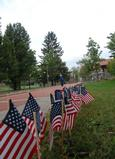 Flags line Martin's Way on Sept. 11.
