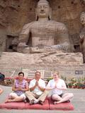 Eve Denton '12 (right) at the Yungang Grottoes in Datong.