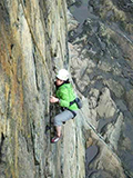 Gaby Pilson '17 climbing at Acadia Natiional Park in Maine on a Hamilton Outing Club trip earlier this year.