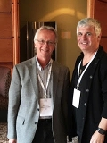 Director of the Fillius Jazz Archive Monk Rowe with British guitarist Laurence Juber.