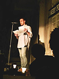 John Rufo '16 reads at Bowery Poetry Club.