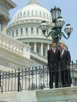 Ben Noble '08, left, with Illinois Congressman Peter Roskam on the Capitol steps.