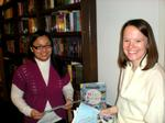 Debbie Chen '13 with Caroline Abbey '06 at Bloomsbury Children's Books.