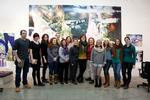 Hamilton art students are joined by Susanna White, Associate Director of the Wellin Museum, Art Professors Ella Gant and Katharine Kuharic with artist Marilyn Minter in her studio.