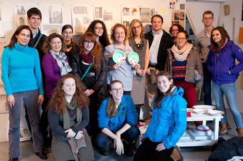 Tracy Adler, Susanna White, Katharine Kuharic, artist Julia Jacquette, Rebecca Murtaugh, Robert Knight and Hamilton students in Jacquette's studio.