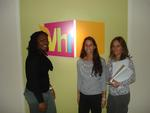 From left, Athina Chartelain '13 and Laurie Sadove '13 were hosted at VH1 by Nancy Ratner P'14.