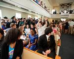 Students fill the Chapel for the ceremony.