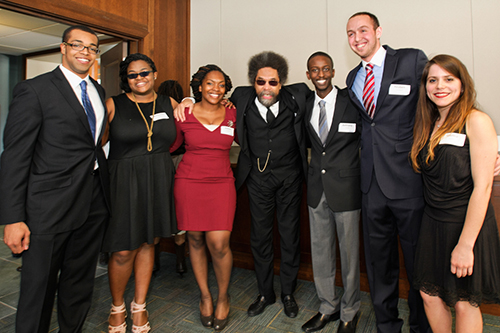 Joseph Anderson'13, Nanyamka Fleming '14, Athina Chartelain '13, Anthony Jackson '15, Reuben Dizengoff '15, and Gretha Suarez '15, pose for a photo with Cornel West, center.
