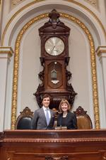 Daniel Fielding '07 and President Joan Hinde Stewart.
