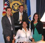 Alison Chairamonte (left) with other interns in Cong. John Larson's office