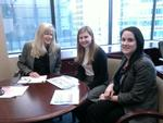 Francie Starnes P'11, Nina Kraus '13 and Leah Getis at Chartis International.