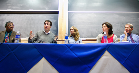 Alon Hillel-Tuch '07, second from left, speaks during the panel. Other panelists from left, Mark Montgomery, Haley Reimbold '06, Nancy Roob '87 and Steve Culbertson '79.