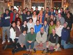 The Environmental Studies 220 Class at Camp Wenonah.  Seated in front are Anne Schoff, Ed Fitzgerald, Dennis Phillips and Jim Schoff, '68, hosts and contributors to the evening seminar.