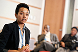Tsion Tesfaye '16 talks about her plans to help those from her native Ethiopia during a discussion of the Transformational Leadership and Social Innovation Program.