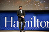 Neil deGrasse Tyson receives a warm welcome as the latest guest in the Sacerdote Great Names Series at Hamilton.