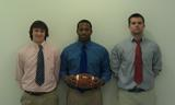 2012 Hamilton College football team captains. Left to right: Jordan Eck '12, Camron Waugh '12 and Mike MacDonald '12.