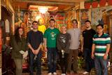At the Khmer Buddhist Temple, Utica, from left Allie Goodman, Lewis Leone, Alex Potoczak, Jaclyn Kogler, Jacob Trahan, Professor Plate, and Sokhom Teng from the temple.