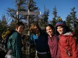 From left Grace Lee '13, Dave Hyman '12, Erin Sullivan '13, Sarah Fellows '14 on top of Couchsachraga Peak.