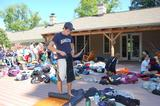 Pre-orientation leaders gather equipment at the Glen House.