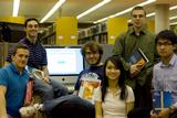 Members of the Entrepreneur Club get ready to launch their used book website.