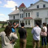 Goodwillie talking to students at Hancock Shaker Village