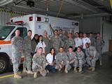 Sujitha Amalanayagam, Caitlyn Williams, Andrew Branting, Keith Willner (standing) and Kathy Lee (kneeling) with Ft. Drum EMT class.