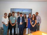 Program in Washington students with George Baker '74 and Frank Vlossak '89 at Williams and Jensen.