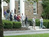 Students gathered outside Root Hall as the Chapel bells were rung on Sept. 11.