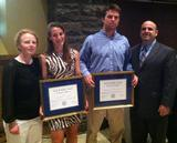 L to R: Women's soccer coach Colette Gilligan, Alex Rimmer '13, Mike MacDonald '13, football coach Andrew Coehn.