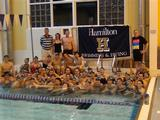 "Hamilton College's swimming and diving teams participate in the Ted Mullin ""Hour of Power"" Relay for Sarcoma Research on Nov. 8."