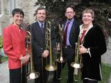 Heather Buchman, left, with members of the Rochester Philharmonic trombone quartet.