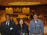 Rodric Camron Waugh '13, Maria Lozada '13 and James Forrey '13 in the U.N. Security Council chamber.