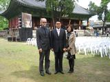 Thomas Wilson at Korea's Confucius temple with Kong Chuichang and his wife Wu Shuoyin