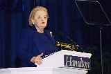 Madeleine Albright delivered a lecture at Hamilton College on Wednesday night.