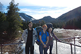 Juan Hernandez '19, Elise LePage '18, and Megan Bates '18 at Marcy Dam, Adirondacks.