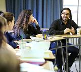 Ian Bogost, right, visited Janelle Schwartz's Introduction to Literary Theory class before his Hamilton lecture