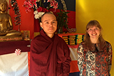 Shannon Boley '17, right, at Nandamala Buddhist temple in Utica with Ko Salla the monk there.