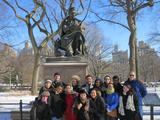 Program in New York City students and Professor Maurice Isserman in front of the Sir Walter Scott statue in Central Park.