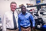 Tatenda Chakoma '18, right, with Dr. Leif Havton at UCLA Medical School, Department of Neurology.