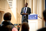 Former Lost Boy of Sudan John Dau speaks in the Hamilton Chapel on Feb. 3.
