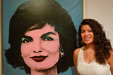 "Isabel Dau '15 in front of Andy Warhol's ""Early Colored Jackie,1964,"" at the museum."