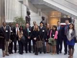 D.C. Program students and Professor Ted Eismeier in the atrium of World Bank.