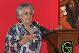 Professor emeritus Jean D'Costa was the main speaker at the Lignum Vitae Writing Awards where an award named in her honor was presented.