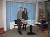 Gene Domack with Dr. Marilin Lobos Goic at the University of Magallanes in Punta Arenas.