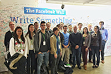 Hamilton New York City Program students and program director Professor Chris Georges at Facebook with Fabio Freyre '83.