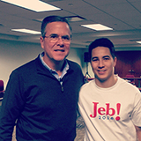 Brain Ferrell '16 with Republican  presidential candidate Jeb Bush in Iowa.
