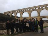 Hamilton students in France at the Pont du Gard, an ancient Roman aqueduct bridge that crosses the Gardon river.