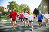 Participants take off for their run around campus during the first Ham & Legs Fun Run/Walk.